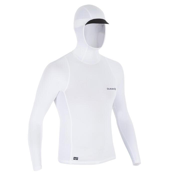 Uv-werende rashguard 500 met kap voor heren wit - 1296680