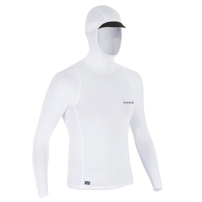 tee shirt anti uv surf top 500 capuche homme blanc