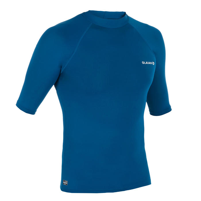 Top Camiseta Proteción Solar Playa Surf Olaian Uv100 Hombre Azul Prusia ANTI-UV