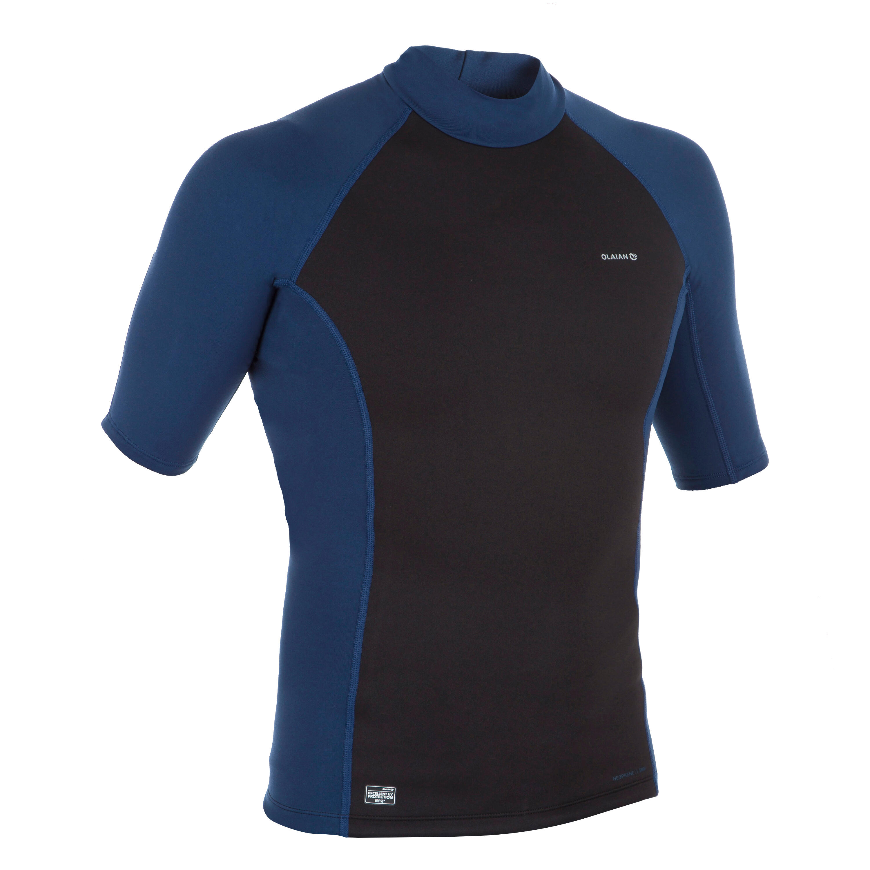 Thermo-Shirt kurzarm Neopren-Top Surfen Fleece Herren schwarz/blau | Sportbekleidung > Funktionswäsche > Thermounterwäsche | Olaian