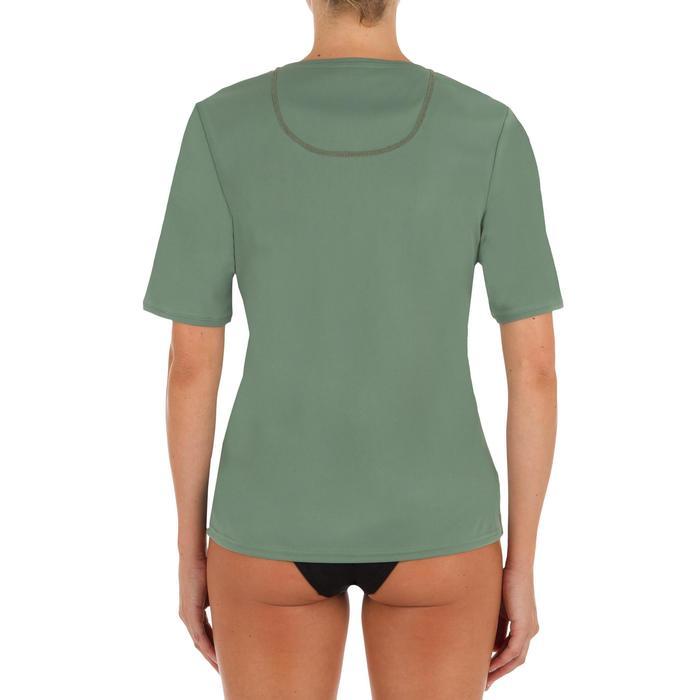 Uv-werend zwemshirt met korte mouwen voor dames, voor surfen, grijs groen