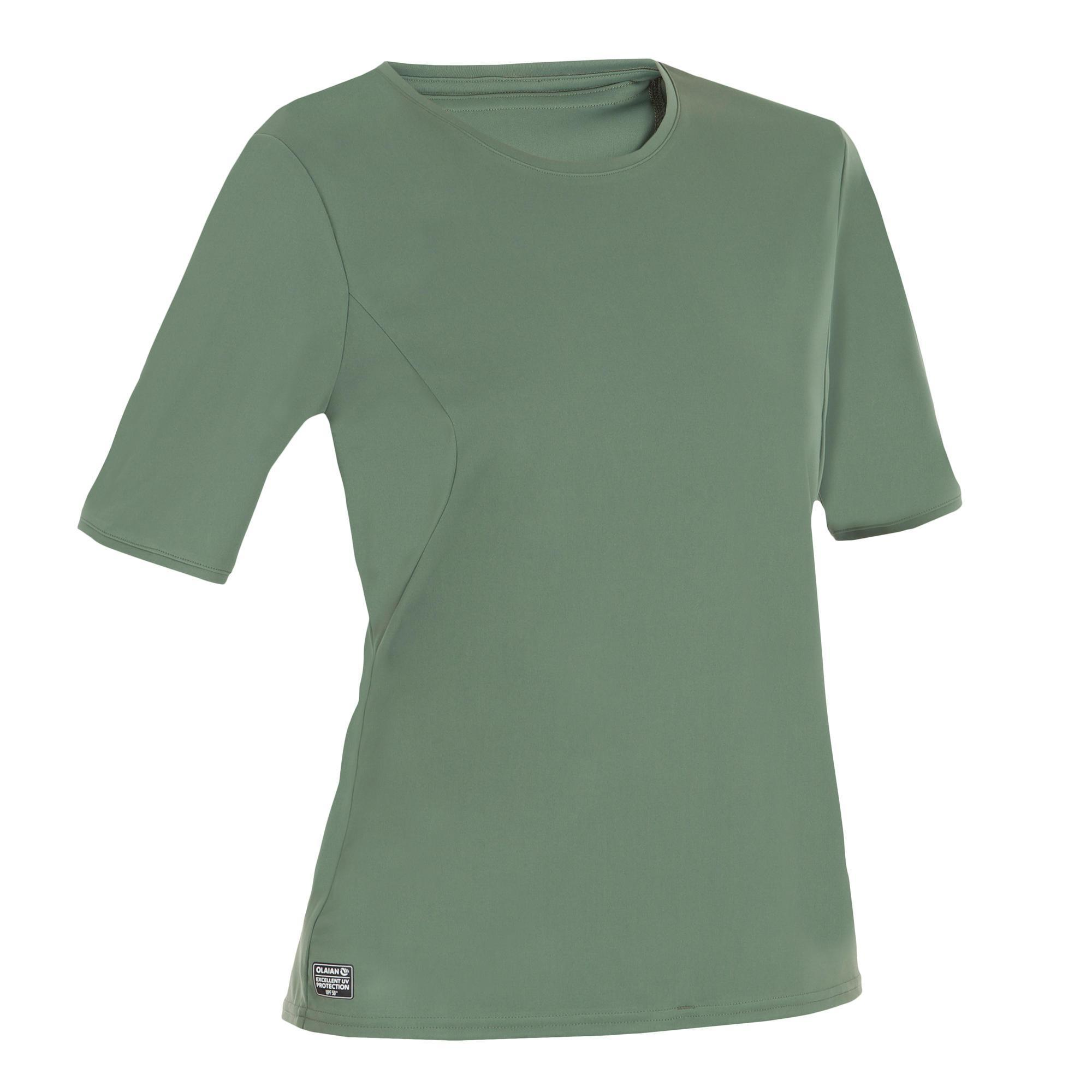 UV-Shirt kurzarm Surfen Damen grau/grün