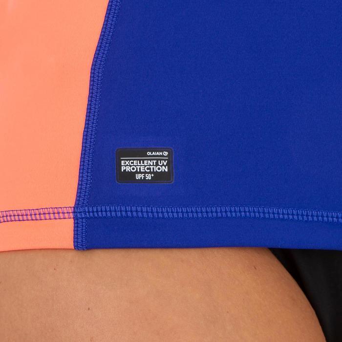 Uv-werende rashguard 500 met korte mouwen voor dames paars roze met print - 1296705