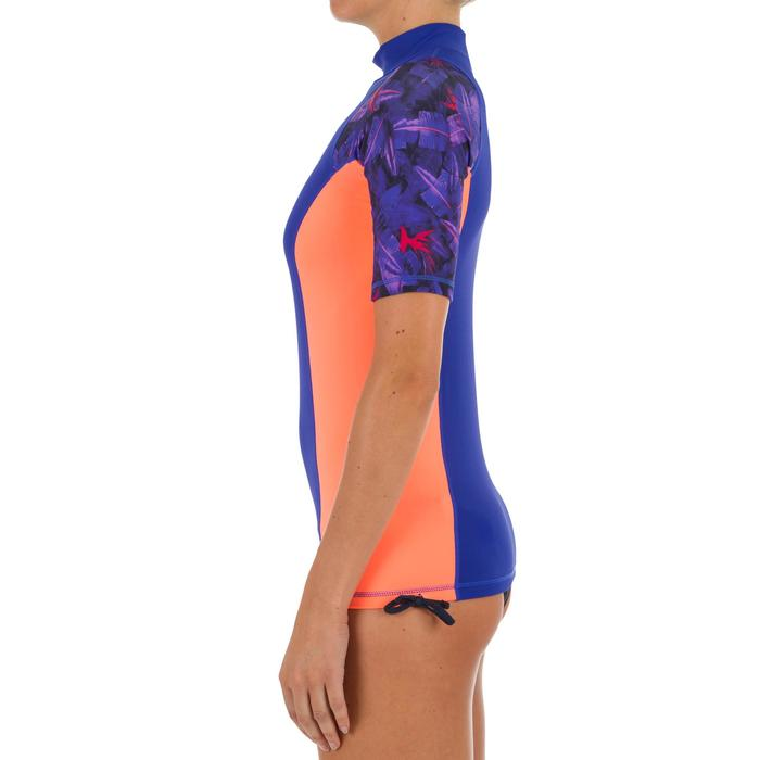 tee shirt anti uv surf top 500 manches courtes femme violet rose imprimé