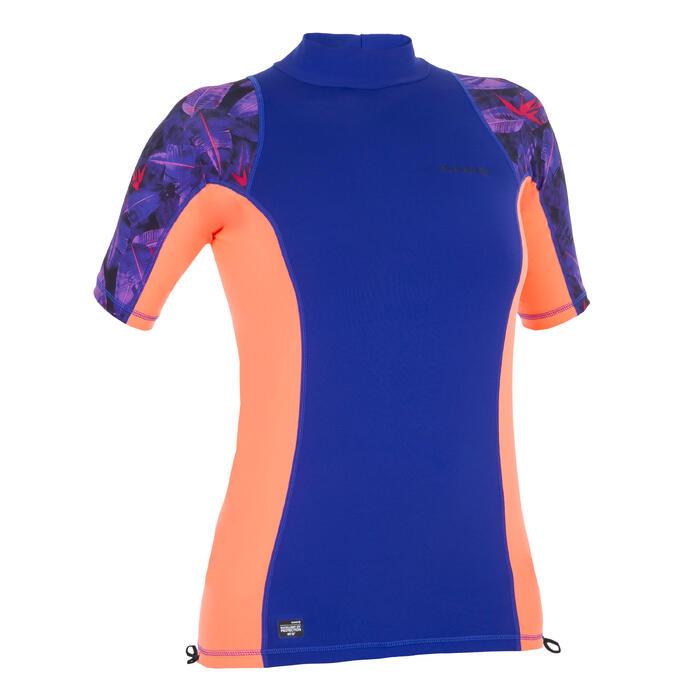 Camiseta anti-UV surf top 500 manga corta mujer Violeta rosa estampado