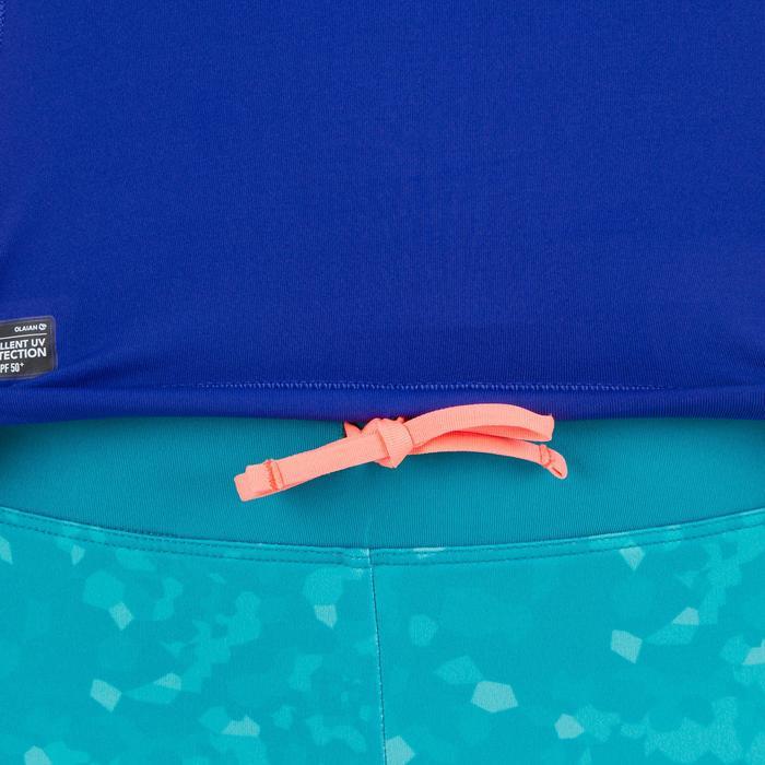 Uv-werende rashguard 500 met korte mouwen voor dames paars roze met print - 1296709
