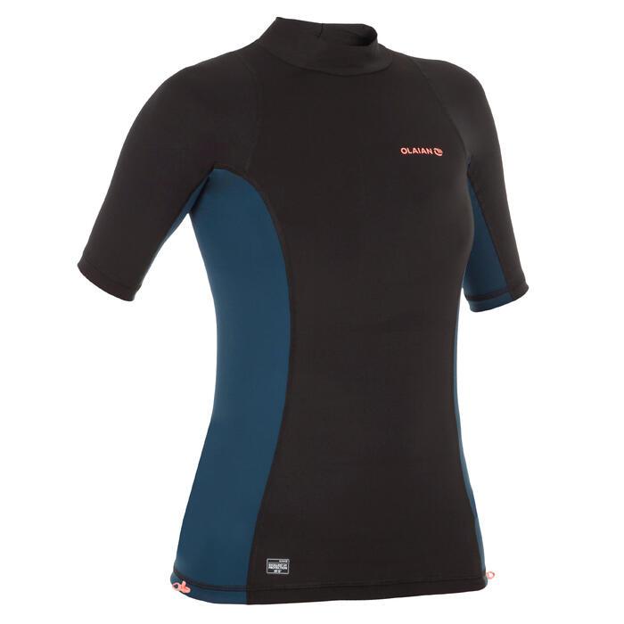 Uv-werende rashguard 500 met korte mouwen voor dames, voor surfen, zwart bicolor - 1296713