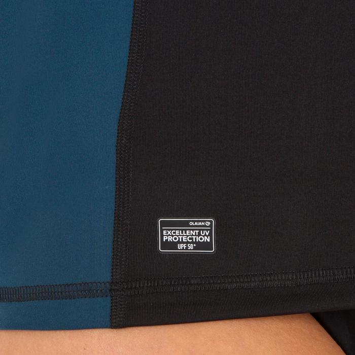 Uv-werende rashguard 500 met korte mouwen voor dames, voor surfen, zwart bicolor - 1296716