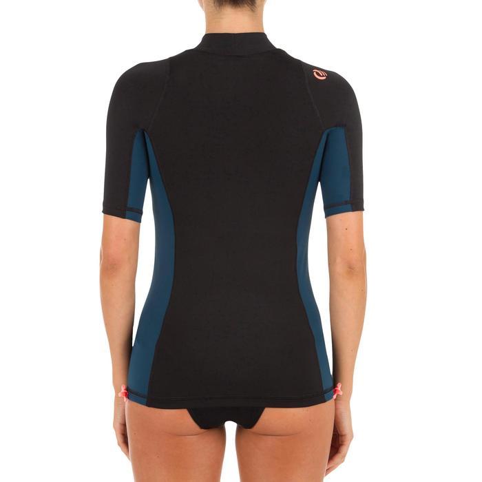 Camiseta antiUV surf top 500 manga corta mujer negro bicolor