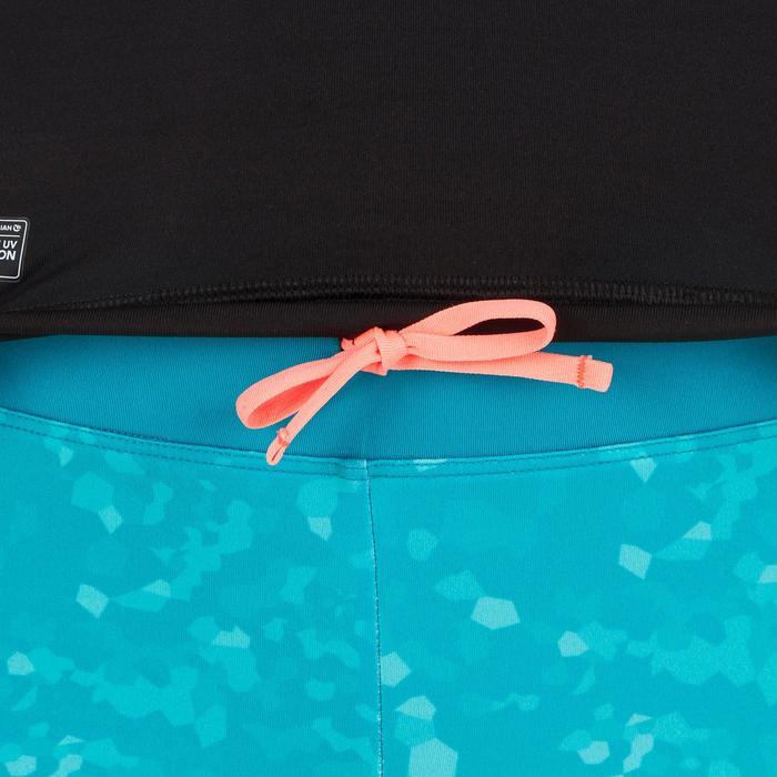 uv-werende rashguard 500 met korte mouwen voor dames, voor surfen, zwart bicolor