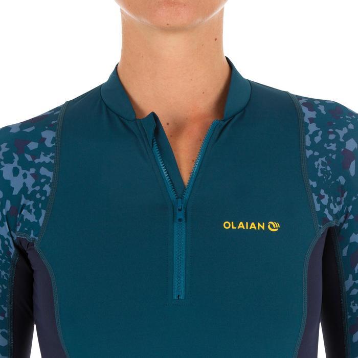 Uv-werende rashguard 500 met lange mouwen voor dames blauw met print