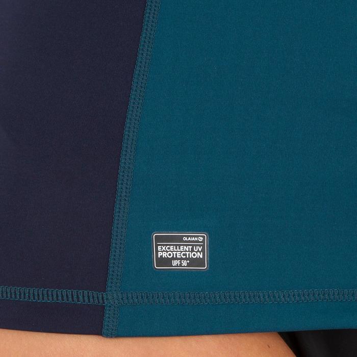 Uv-werende rashguard 500 met lange mouwen voor dames blauw met print - 1296723