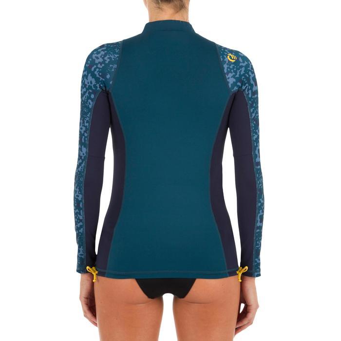 Uv-werende rashguard 500 met lange mouwen voor dames blauw met print - 1296724