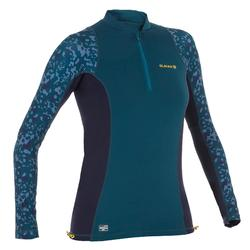 500 women's long sleeve UV protection surfing top - Blue print