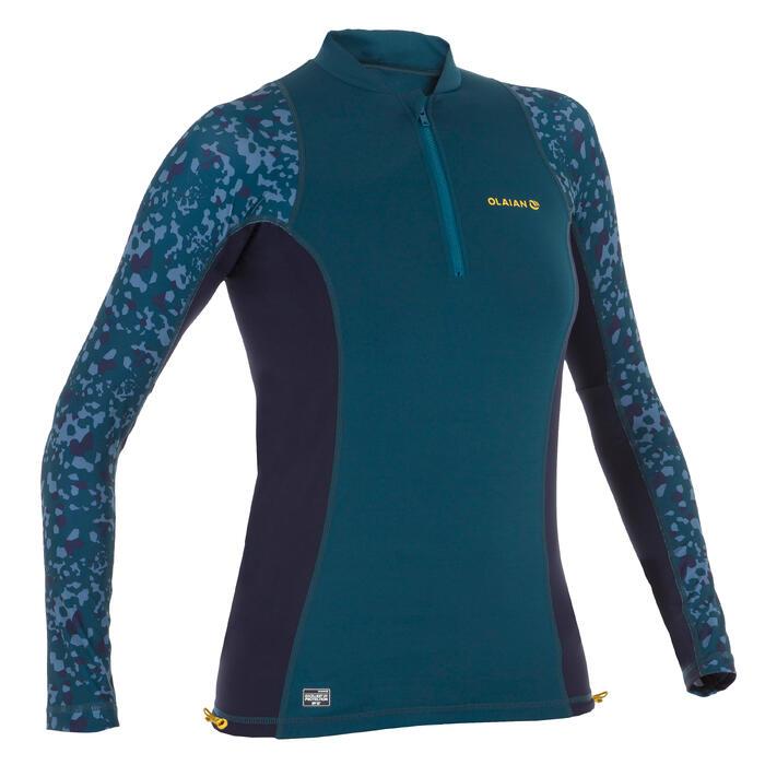 UV-Shirt langarm Surfen Top 500 Damen blau bedruckt