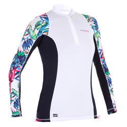 tee shirt anti uv surf top 500 manches longues femme blanc imprimé