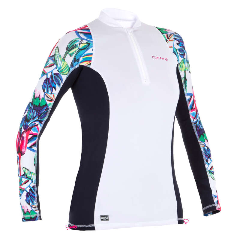 Солнцезащитная одежда для женщин Серфинг, Вейкбординг - АНТИ-УФ ФУТБОЛКА 500 ЖЕН.  OLAIAN - Одежда, обувь