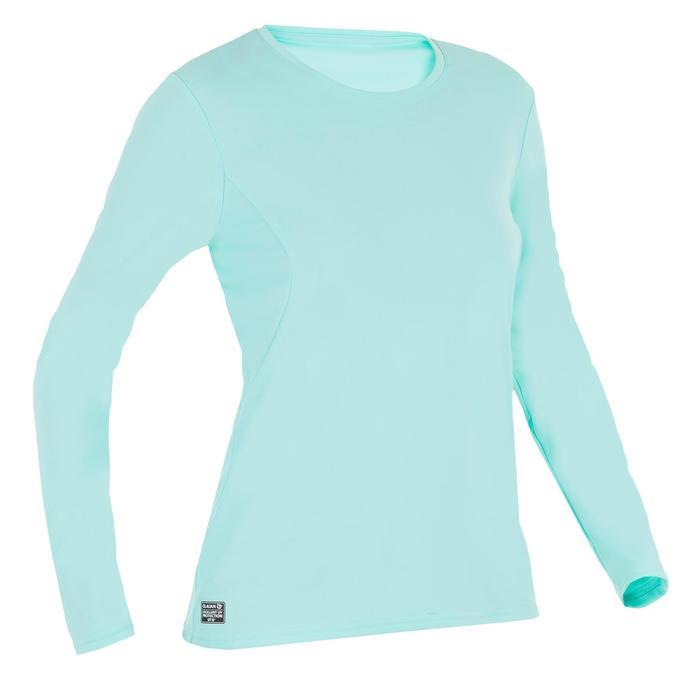 Uv-werend zwemshirt met lange mouwen voor dames, voor surfen, lichtblauw - 1296737