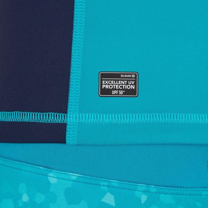 Uv-werende rashguard 500 met kap voor dames blauw groen - 1296742