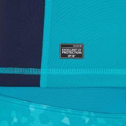Uv-werende rashguard 500 met kap voor dames blauw groen