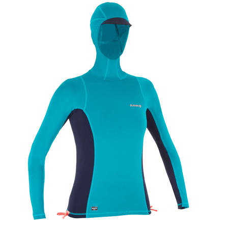 500 women's UV-protection surfing T-shirt top with hood - Blue green