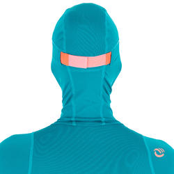 UV-Shirt Surfen Top 500 mit Kapuze Damen blau/grün