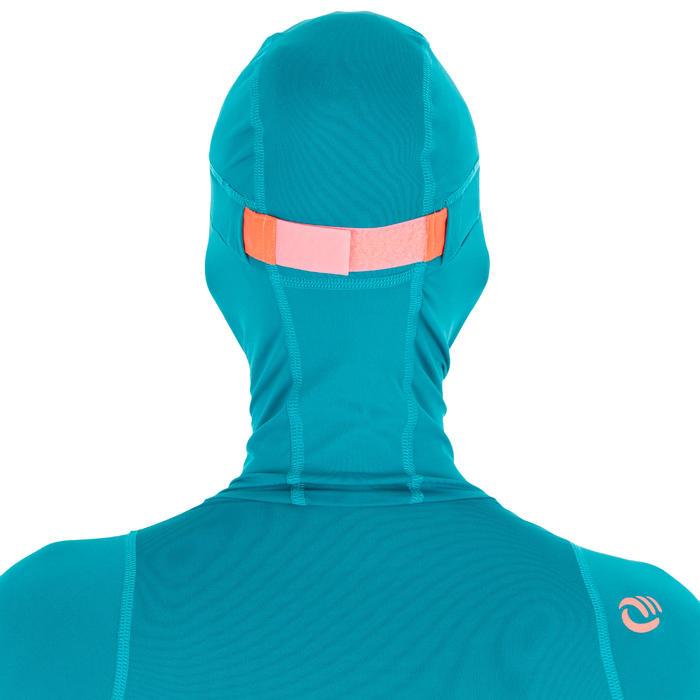 Uv-werende rashguard 500 met kap voor dames blauw groen - 1296748