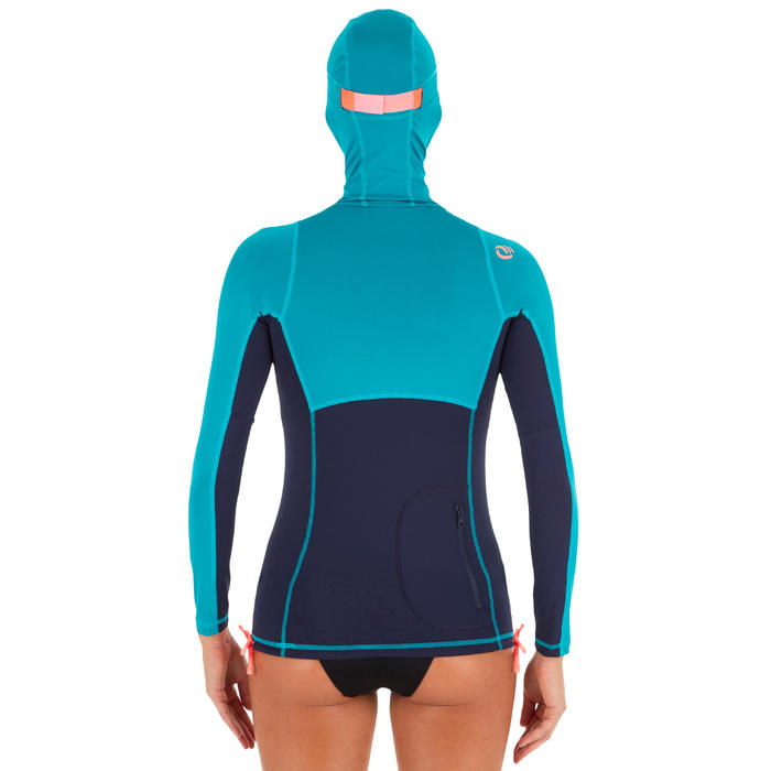 Camiseta anti-UV surf top 500 capucha mujer azul verde