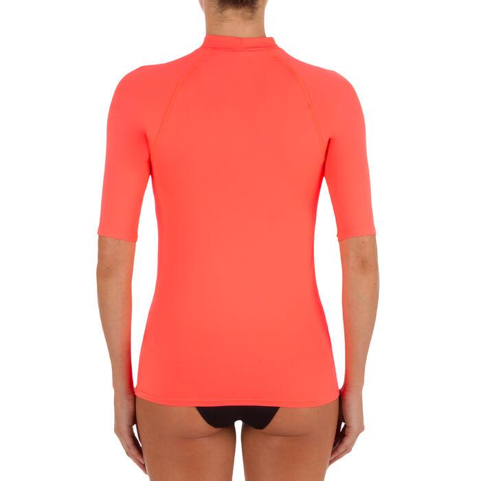 100 女性短袖防曬衝浪T恤 - 粉紅