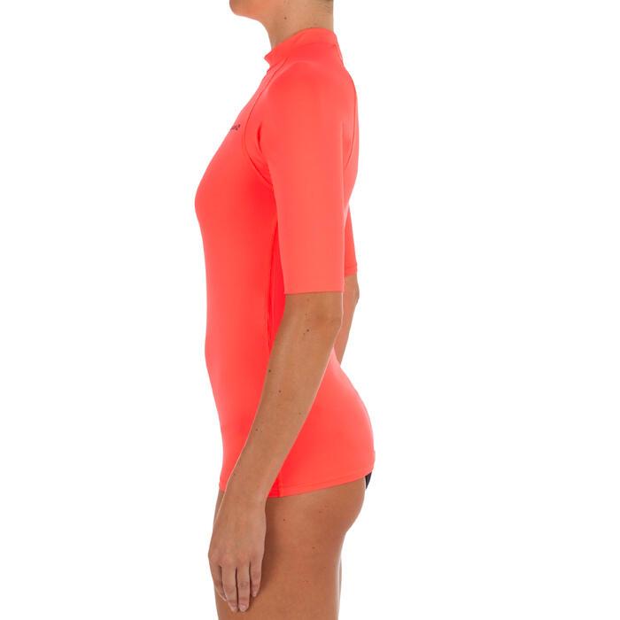 Uv-werende rashguard 100 met korte mouwen voor dames roze