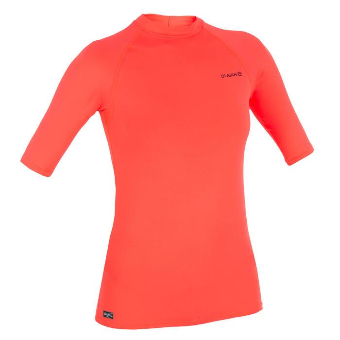 女款抗UV衝浪短袖T恤100-粉紅色