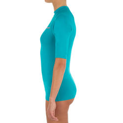 100 Women's Short Sleeve UV Protection Surfing Top T-Shirt - Turquoise