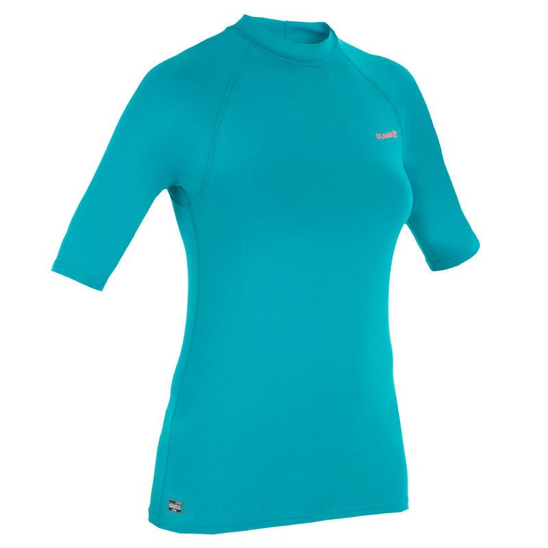 nueva productos boutique de salida estilo novedoso Camiseta antiUV surf Top 100 manga corta mujer Rosada turquesa