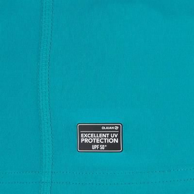 Жіноча футболка 100 для серфінгу, з коротким рукавом та УФ-захистом - Бірюзова