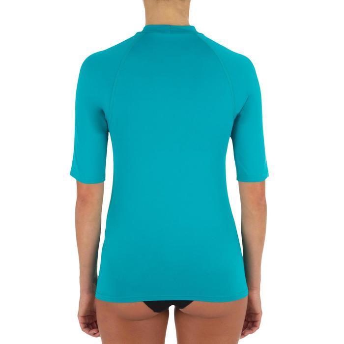 Camiseta antiUV surf Top 100 manga corta mujer Rosa turquesa