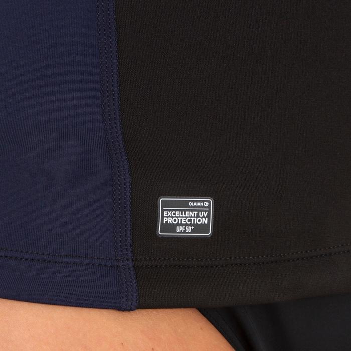 Uv-werende en thermische neopreen rashguard met lange mouwen, dames zwart blauw