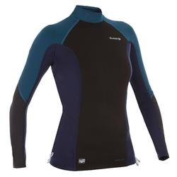 Women's long-sleeved neoprene fleece UV-protection surf T-shirt top - Black blue