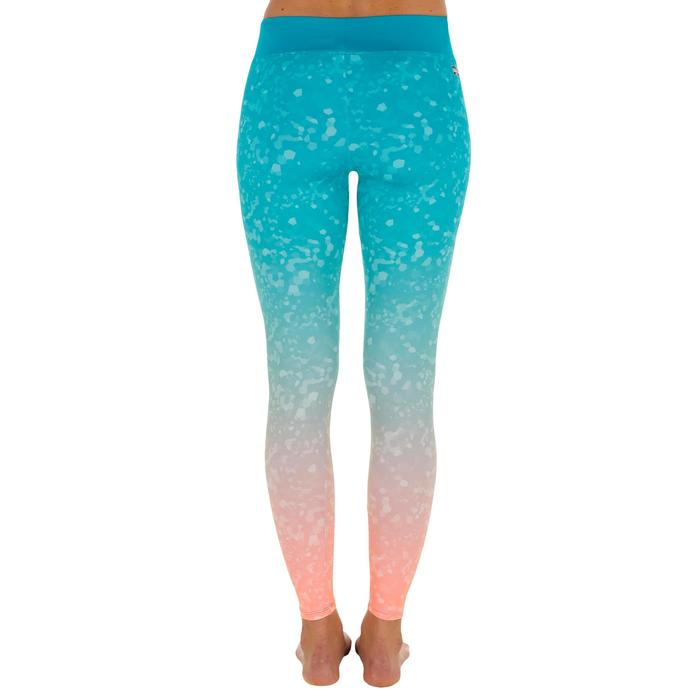 Leggings anti-UV surf 500 mujer Azul turquesa estampado