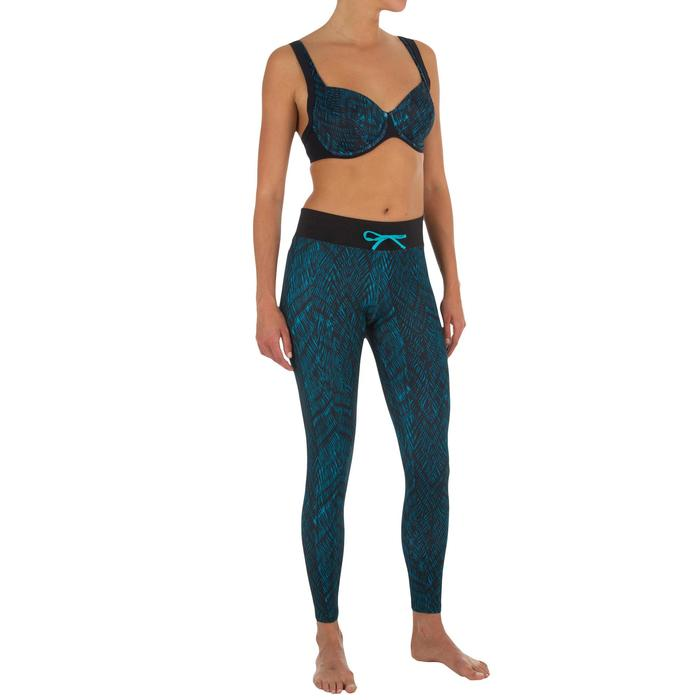 Leggings anti-UV surf 500 mujer Negro estampado