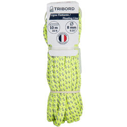 Sailing Floating Tow Line/Rope 8 mm x 10 m - Yellow/Grey