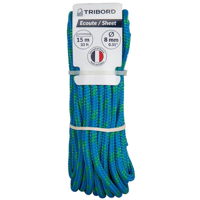Schoot touwwerk boot 8 mm x 15 m blauw/groen