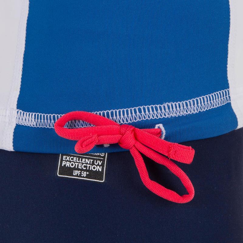 Camiseta anti-UV surf top 500 manga corta niños blanca azul
