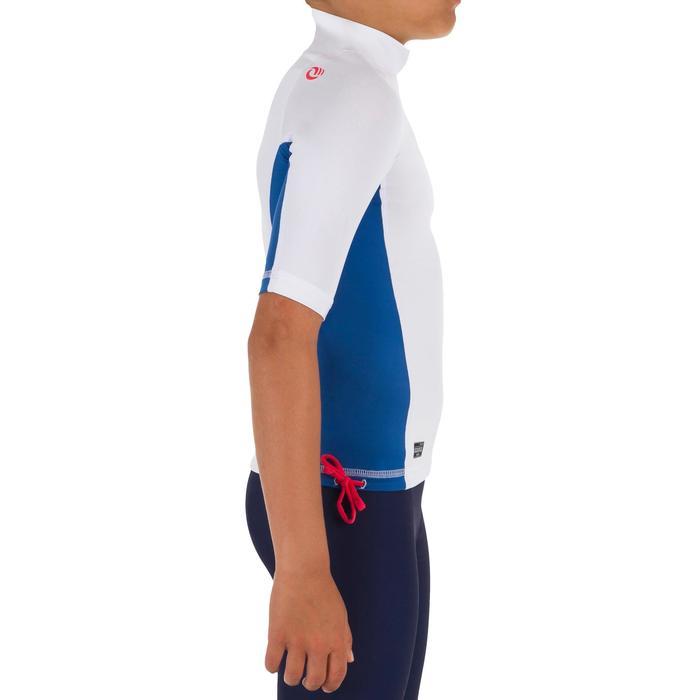 Uv-werende rashguard 500 met korte mouwen voor kinderen, voor surfen, wit blauw - 1296939