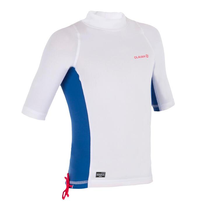 Uv-werende rashguard 500 met korte mouwen voor kinderen wit blauw