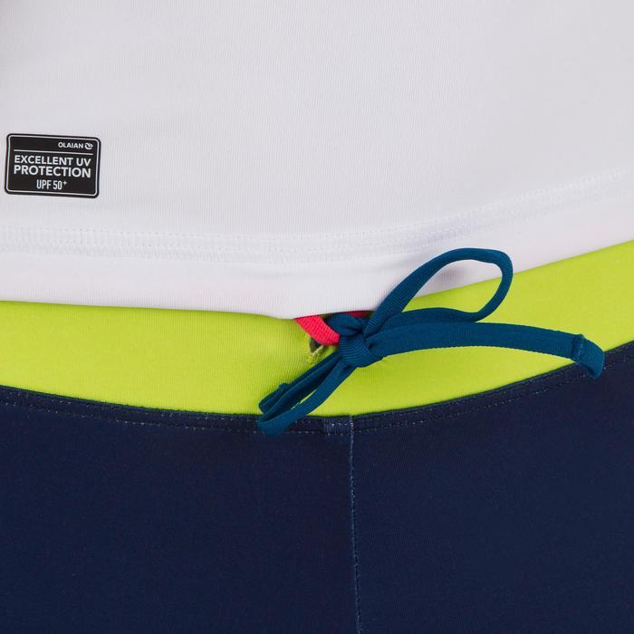 Uv-werende rashguard 500 met korte mouwen voor kinderen, voor surfen, wit blauw - 1296941
