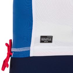 Camiseta anti-UV surf top 500 manga corta júnior blanco azul