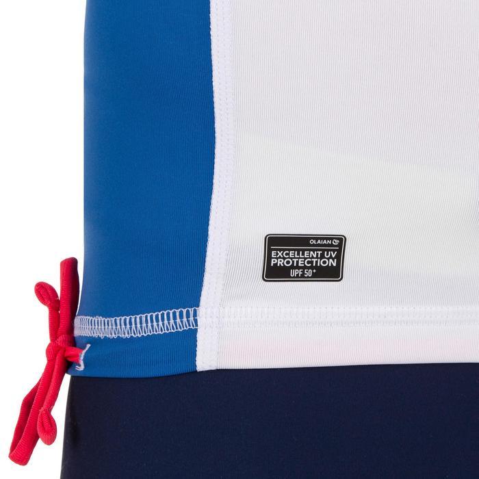 Uv-werende rashguard 500 met korte mouwen voor kinderen, voor surfen, wit blauw