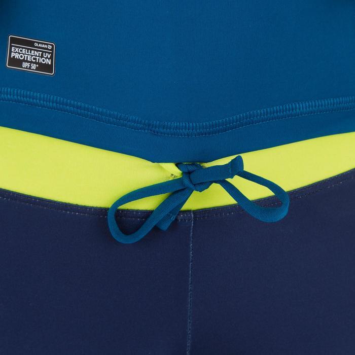 Uv-werende rashguard 500 met lange mouwen voor kinderen blauw