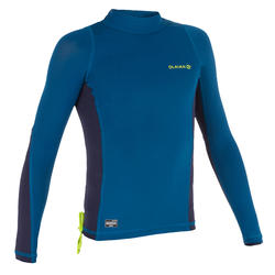tee-shirt anti-UV surf haut 500 manches longues enfant bleu
