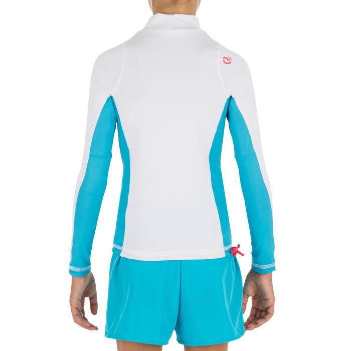 Uv-werende rashguard 500 met lange mouwen voor kinderen wit blauw - 1297016